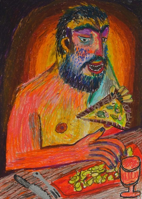 Man Eating Pizza – Limited Edition Print